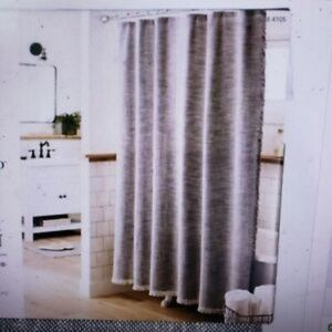 Threshold Gray Woven Fringe Shower Curtain Fabric